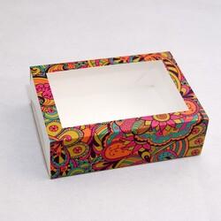 Коробка для макаронс 115х155х50 Яскравий фон з вікном (на 12 шт)
