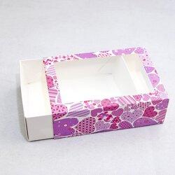 Коробка для Макаронс 115х155х50 Розовые сердца с окном (на 12 шт)