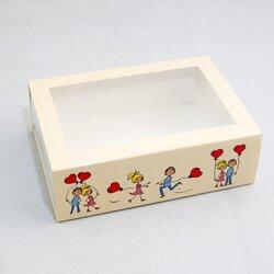 Коробка для Макаронс 115х155х50 Любовь с окном (на 12 шт)