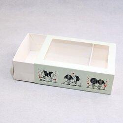Коробка для макаронс 115х155х50 Щастя поруч з вікном (на 12 шт)
