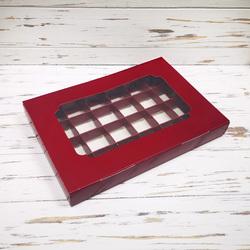 Коробка для конфет 270х185х30 на 24 шт бордовая с окном