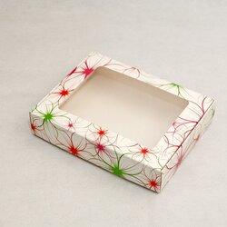 Коробка для печива, пряників з віконцем 192х148х40 мм Яскраві квіти