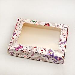 Коробка для печива, пряників з віконцем 192х148х40 мм Метелики