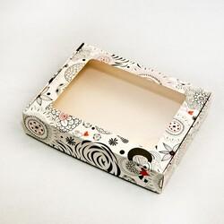 Коробка для печенья,пряников с окошком 192х148х40 мм Абстракция Черно-белая