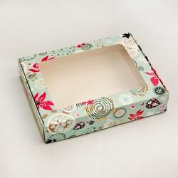 Коробка для печива, пряників з віконцем 192х148х40 мм Абстракція блакитна