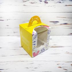 Коробка на 1 кекс 82х82х100 с ручкой Весна желтая
