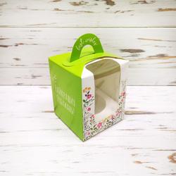 Коробка на 1 кекс 82х82х100 с ручкой Весна зеленая