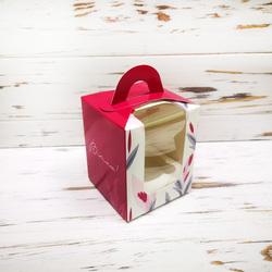 Коробка на 1 кекс 82х82х100 с ручкой Весна бордо