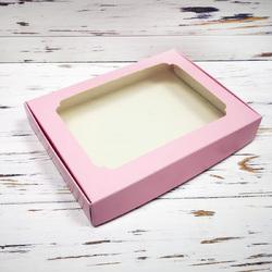 Коробка для пряников с окошком 200х150х30 мм Нежно-розовая