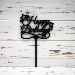 Топпер Happy Birthday чорний зірочки 12,5х10 см