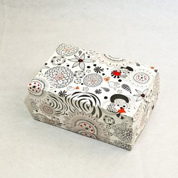 """Коробка-контейнер для тортов, чизкейков, пирожных """"Абстракция черно-белая"""" 180*120*80  мм"""