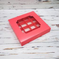 Коробка для цукерок 185х185х30 на 16 штук з вікном Коралова