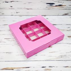 Коробка для конфет 185х185х30 на 16 штук с окном розовая