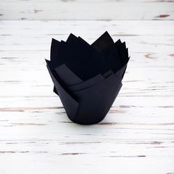 """Форма бумажная для кексов """"Тюльпан"""" черный, 50*80 мм 25 шт"""
