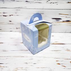 Коробка на 1 кекс 82х82х100 с ручкой Весна голубая