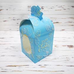 Коробка пасхальная 110х110х140 мм №5 Пасхальная голубая ( с куполом высота 190 мм )