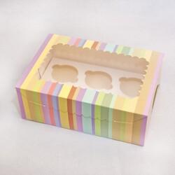 Упаковка на 6 кексов  с окошком 255х180х90 Радуга