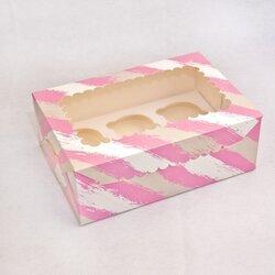 Упаковка на 6 кексов  с окошком 255х180х90 Розовая полоса