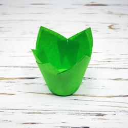 """Форма паперова для кексів """"Тюльпан"""" зелений, 50 * 80 мм 25 шт"""
