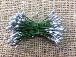 Тычинка двухсторонняя на проволоке(серебряная)