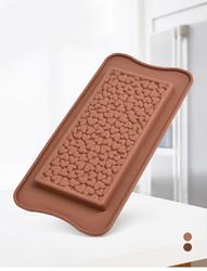 Форма силиконовая для конфет Плитка шоколада Сердечки