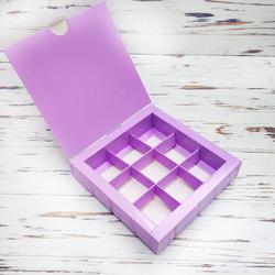 Коробка для конфет 153х153х30 на 9 штук Сиреневая