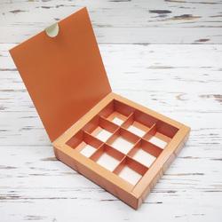 Коробка для конфет 153х153х30 на 9 штук Кофе