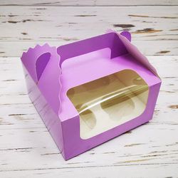Коробка на 4 кекси 170х170х85 з ручкою Бузкова