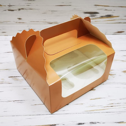 Коробка на 4 кекса 170х170х85 с ручкой Кофе