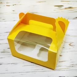 Коробка на 4 кекса 170х170х85 с ручкой Желтая