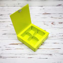 Коробка для конфет 112х112х30 на 4 штуки салатовая