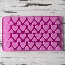 Форма силиконовая для конфет, льда Сердце №4 на планшетке из 56 ед.