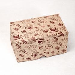 """Коробка-контейнер для тортів, чізкейків, тістечок """"Кава"""" 150*90*80 мм"""