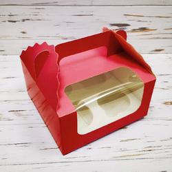 Коробка на 4 кекса 170х170х85 с ручкой Красная