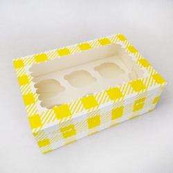 Упаковка на 6 кексов с окошком 255х180х90 Желтая клетка