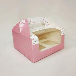 Коробка на 4 кекса 170х170х85 с ручкой Сердца