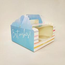 Коробка на 4 кекси 170х170х85 з ручкою Смужка