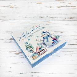 """Коробка для конфет 185х185х30 Новогодняя №7 """"Снеговик"""""""