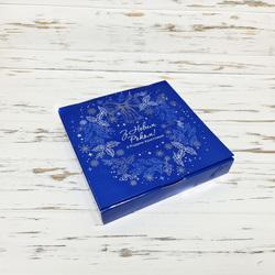Коробка для конфет 185х185х30 Новогодняя №8 Синяя