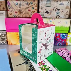 Коробка на 1 кекс 82х82х100 с ручкой Новогодние музыканты