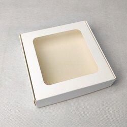 Коробка для пряників, печива з віконцем 150х150х35 мм біла