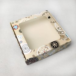 Коробка для пряников, печенья с окошком 150х150х35 мм Абстракция цветок