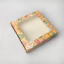 Коробка для пряников, печенья с окошком 150х150х35 мм Печенье яркое