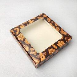 Коробка для пряников, печенья с окошком 150х150х35 мм Имбирное печенье