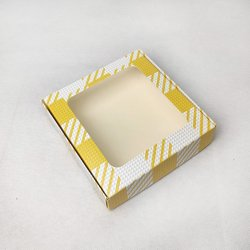 Коробка для пряников, печенья с окошком 150х150х35 мм Желтая клетка