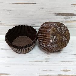 Форма бумажная для кексов коричневая Рождественские Елки 50х30 50 шт(золотисто-серебреные)