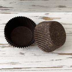 Форма бумажная для кексов коричневая Версаль 50х30 50 шт(золото)