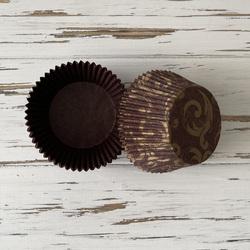 Форма бумажная для кексов коричневая Узор 50х30 50 шт(золото)
