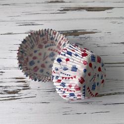Форма бумажная для кексов Поздравление 50х30 50 шт(сине-красное)