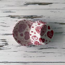 Форма бумажная для кексов День Св. Валентина 50х30 50 шт(красный)